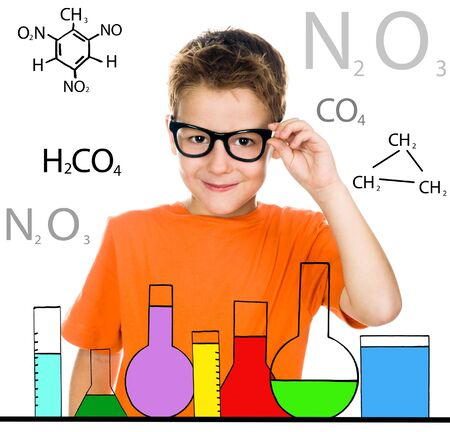 little boy with glasses  white background photo