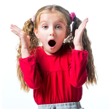little girl surprised: Surprised little girl on a white background