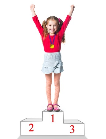 winner on a podium isolated on a white background Foto de archivo