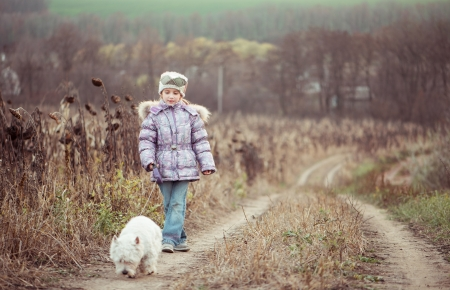 happy cute girl with her dog breed White Terrier walking in a field in autumn photo