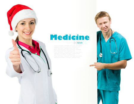 Smiling medical doctors over white photo
