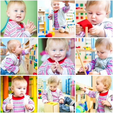 Kleine 11 maanden oude meisje op school vroege ontwikkeling Een collage van foto's Stockfoto