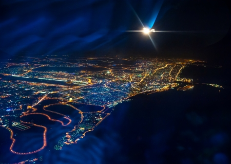 dubai: Beautiful view from the the plane on night Dubai  United Arab Emirates