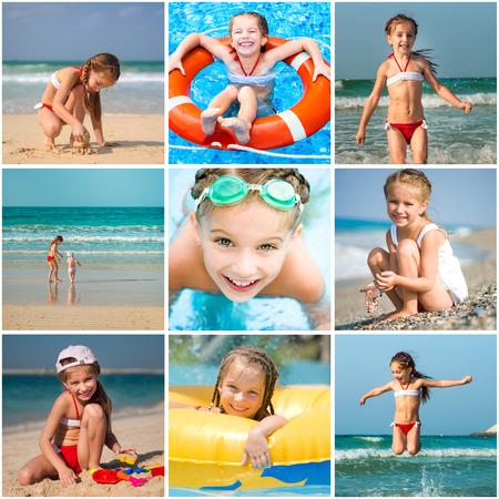 Set photos of a little girl summer vacation Stock Photo - 25194784