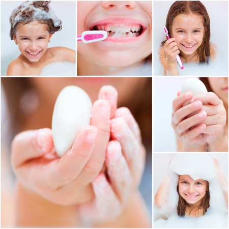 collage of photos in which a girl takes a bath, washes his hands and brushes his teeth photo