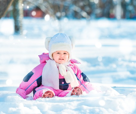 baby outside in winter time Stock Photo