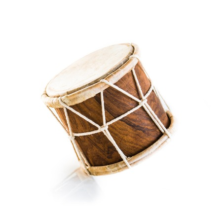 African drum isolated on white Foto de archivo