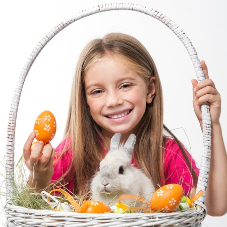 happy little girl with easter bunny photo