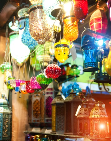 craft product: collection of typical Tuskish Lanterns on sale Stock Photo