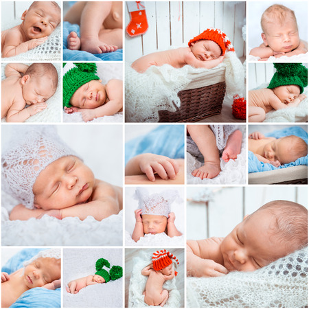 Collage of a sweet newborn babies photos photo