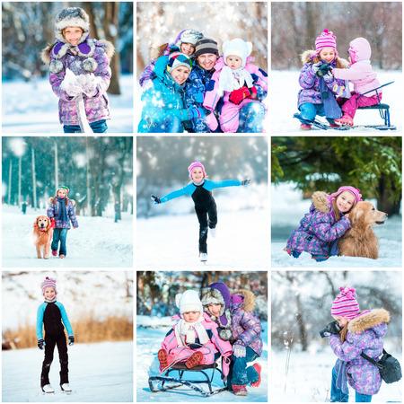 Set Bilder von einem kleinen Mädchen Sommerurlaub Lizenzfreie Bilder