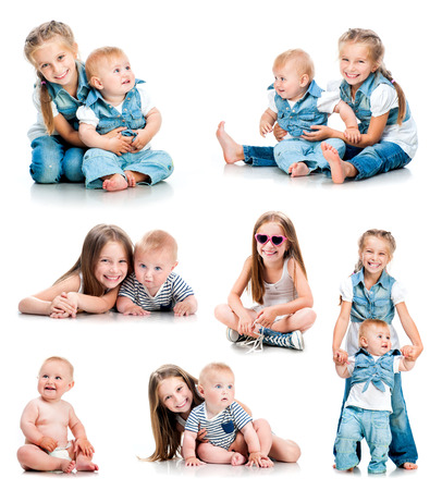 series of photos of of two cute sisters isolated on white background photo