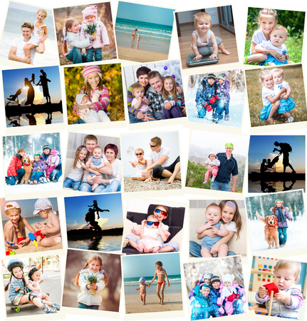 collage of family photos indoors and outdoors photo