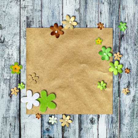 Scrapbooking Background - flowers on kraft paper with space for text photo