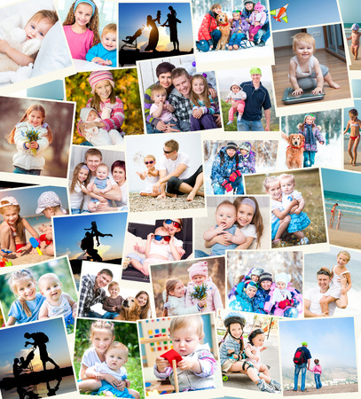 family indoors: collage of family photos indoors and outdoors