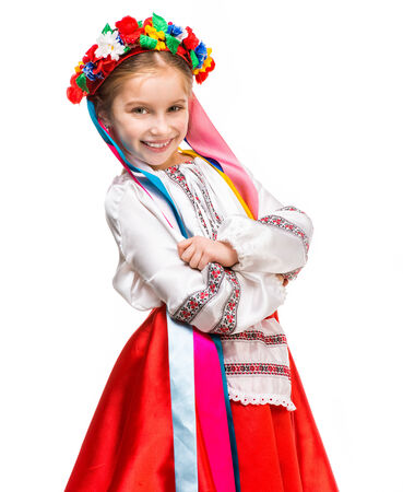 beautiful little girl in the national Ukrainian costume Stock Photo
