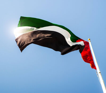 recollection: United Arab Emirates flag waving on the wind