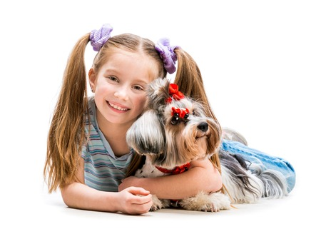 cute little girl is with her dog Yorkshire Terrier isolated on white photo