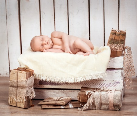 3 6 months: beautiful newborn baby boy sleeping Stock Photo