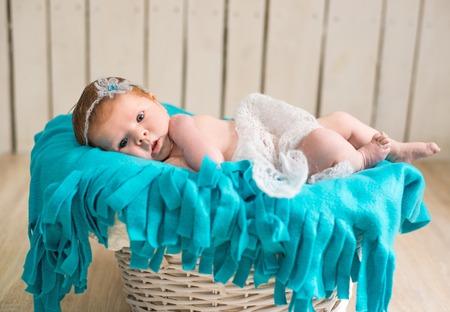 happy lovely newborn baby sleeps photo