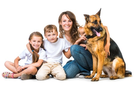 happy children with a shepherd dog on a white background isolated photo