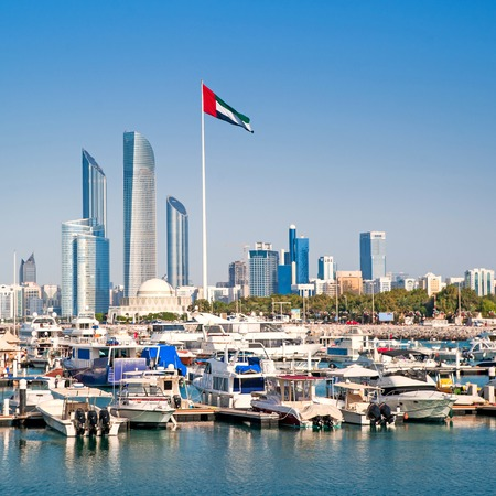 quay with yachts and skyscrapers in Abu Dhabi. UAE