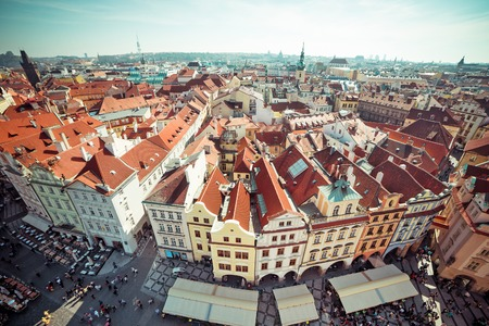 old town square: Houses with traditional red roofs in Prague Old Town Square in the Czech Republic Stock Photo