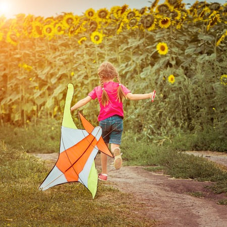 happy little girl with a kite in a field photo