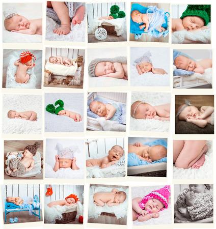 Set of a sweet newborn babies photos photo