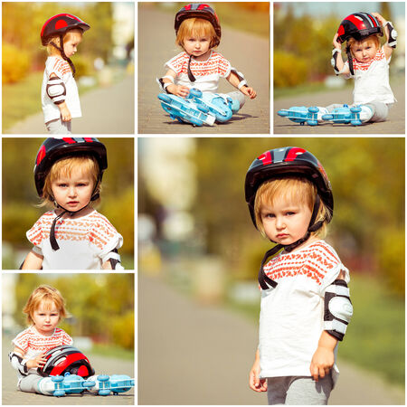 rollerskater: two year old pretty girl in roller skates and a helmet on the street. collage of photos Stock Photo