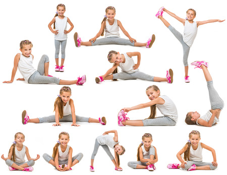 cute little girl goes in for sports. studio shot isolated on white. collage