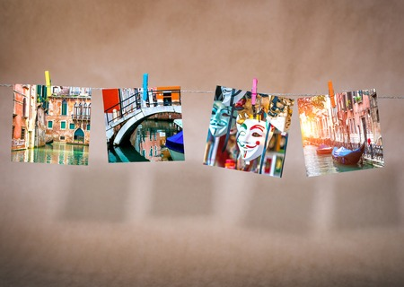 collage of pictures of cityscapes of Venice. Italy photo