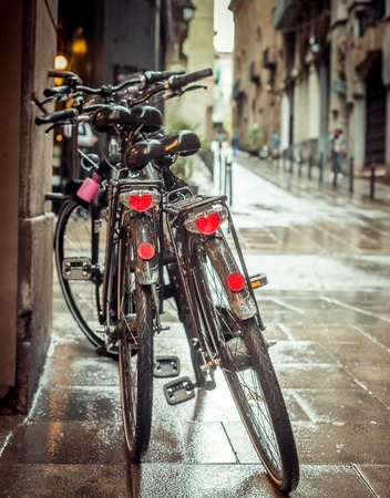 Old streets of Barrio Gotico Barcelona, Spain photo