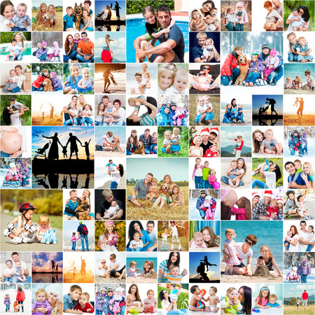 grownups: collection photos of happy families Stock Photo