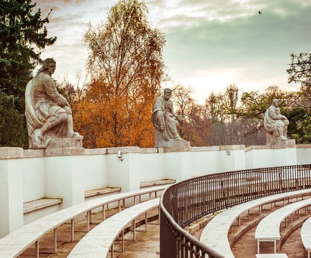 dramatist: Statues of famous playwrights, amphitheatre in Lazienki Park (Royal Baths Park), Warsaw, Poland