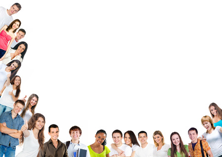 Happy young people group over white background