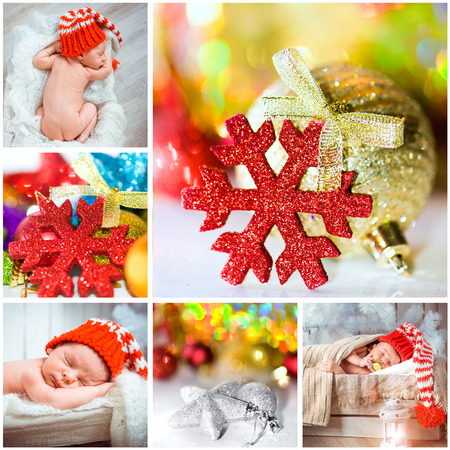 x mass: collage of Christmas photo with a newborn baby