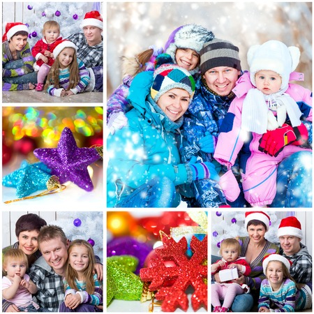 collage of Christmas photo with a happy family photo