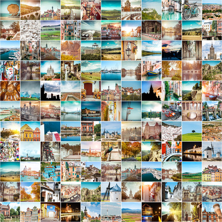 alp: Collage of travel photos from different cities of the Europe