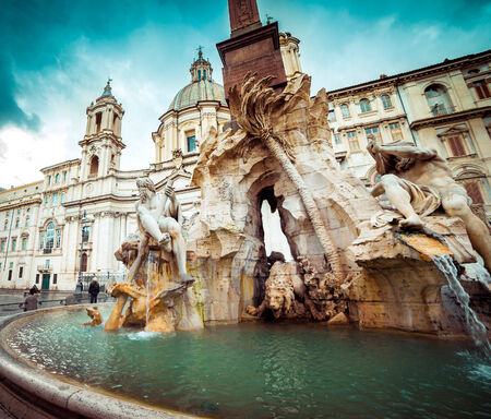 navona: Detail of the Fountain of the Four Rivers in Piazza Navona, Rome, Italy.