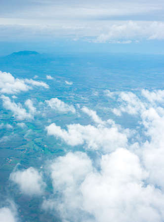 fleecy: Cloudscape. Blue sky and white cloud. Sunny day Stock Photo