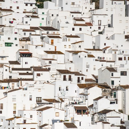 spanish village: background of traditional little white houses Spanish village Stock Photo