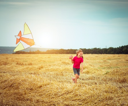 playing field: happy little girl witha kite in a field