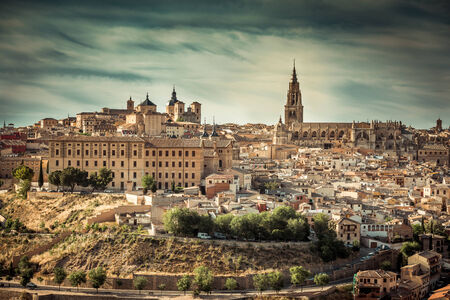 toledo town: Toledo over sunset. medieval town in Spain Stock Photo