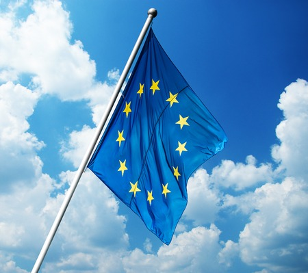 central bank: European Union flag on blue sky background