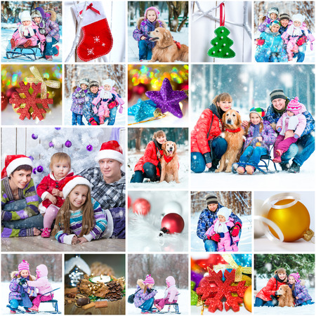collage of a family photos on a christmas theme photo