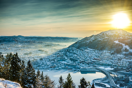 beautiful winter view on Bergen. Norway photo