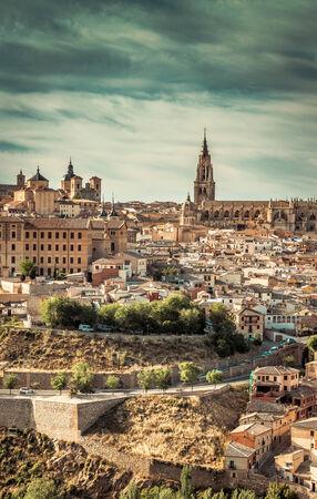 toledo town: Toledo over sunset. medieval town in Spain Stock Photo