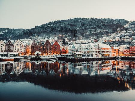 Evening view on Bruges. Bergen. Norway photo
