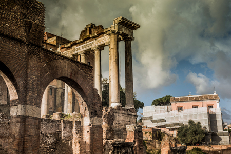 roman column: Roman ruins in Rome, Forum. Italy Stock Photo